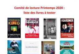 Sélection du comité de lecture romans adultes Beaulieu (printemps 2020)